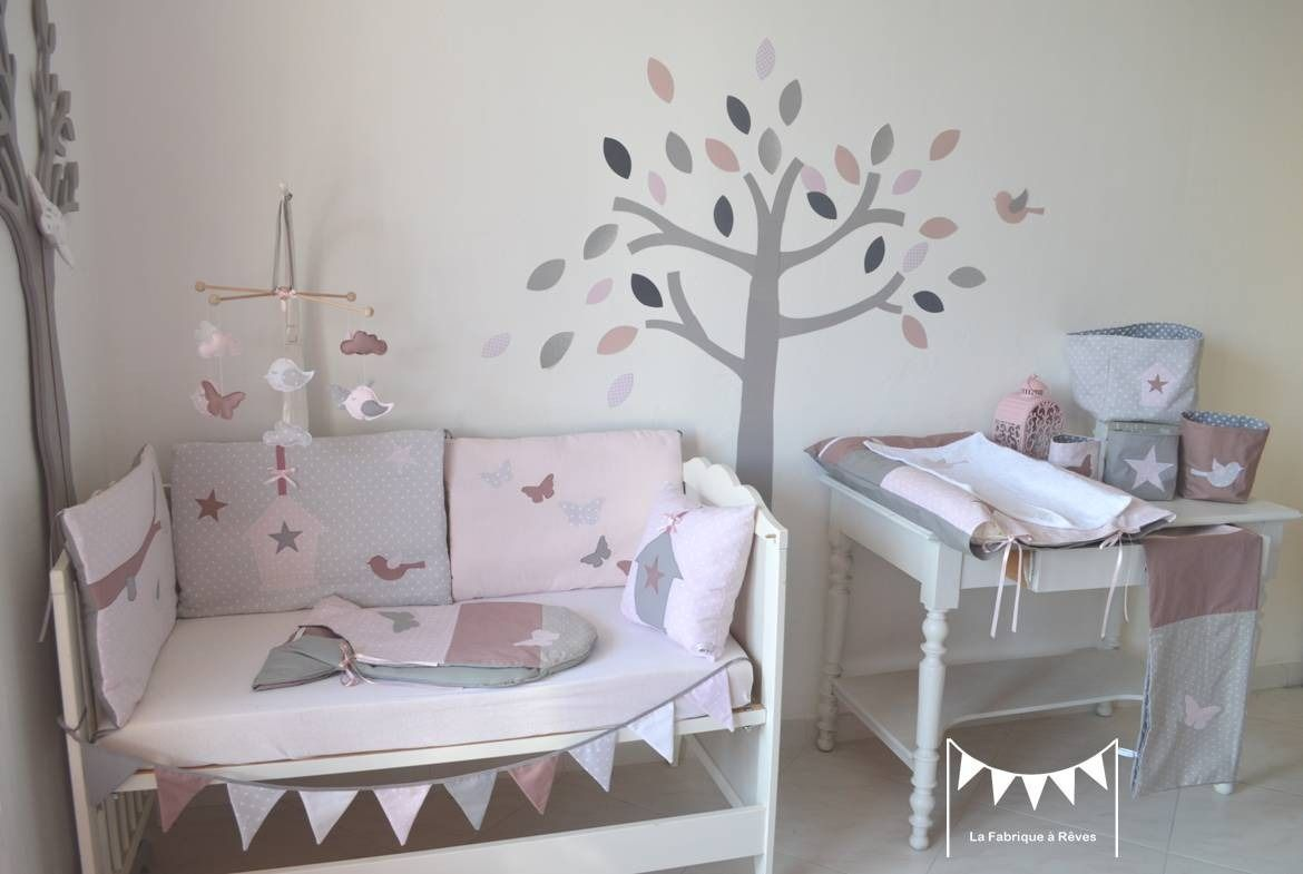 Attrayant Deco Chambre Bebe Fille Taupe Et Rose
