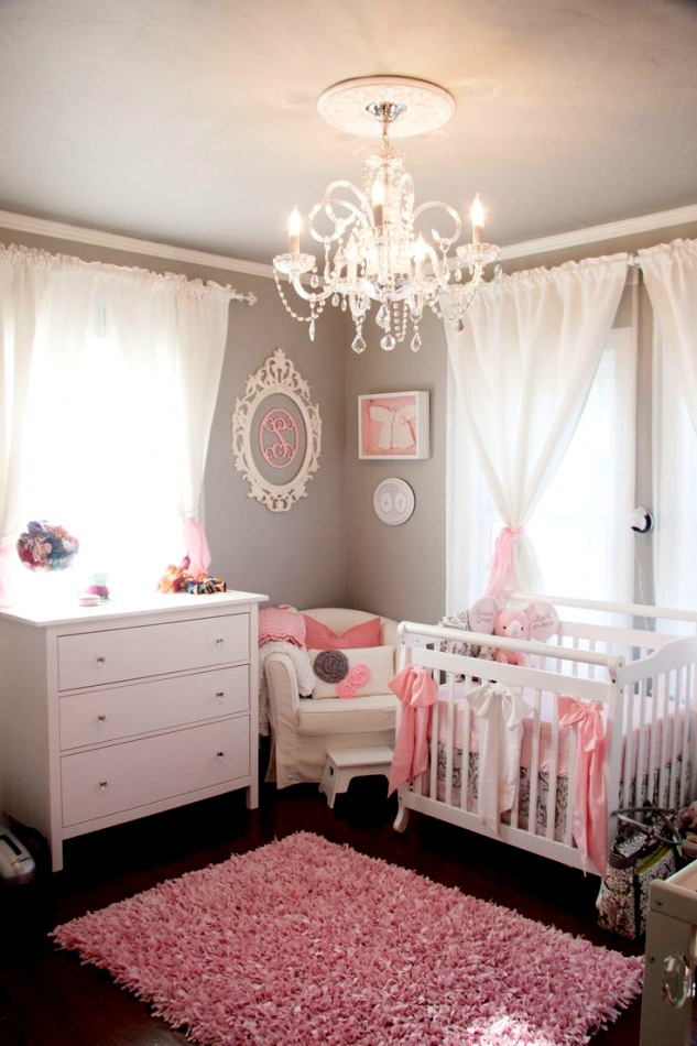 Chambre bebe fille grise rose